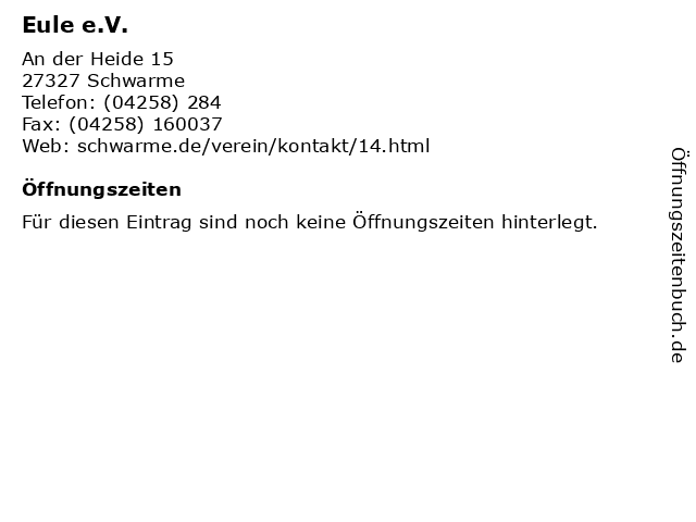 Eule e.V. in Schwarme: Adresse und Öffnungszeiten
