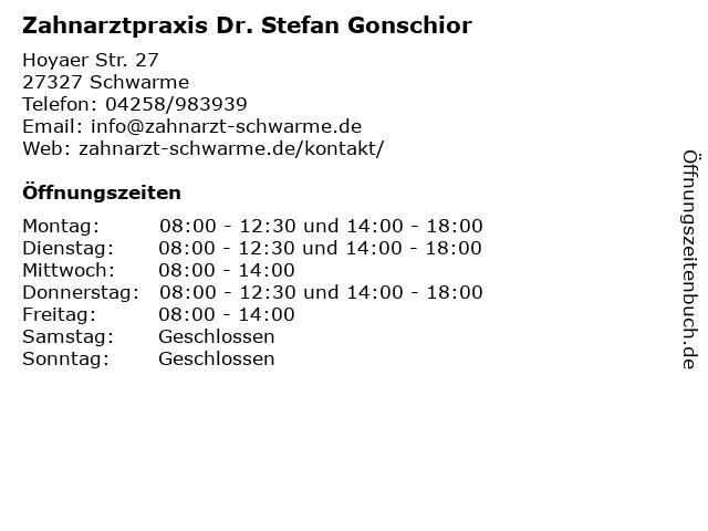 Zahnarztpraxis Dr. Stefan Gonschior in Schwarme: Adresse und Öffnungszeiten