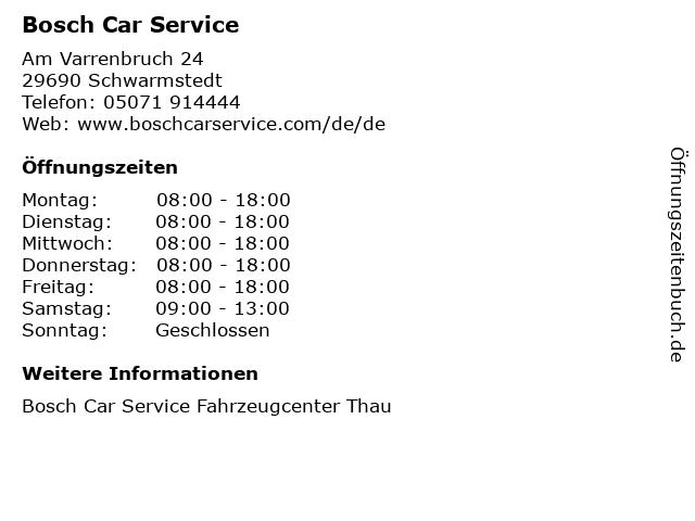 Bosch Car Service in Schwarmstedt: Adresse und Öffnungszeiten