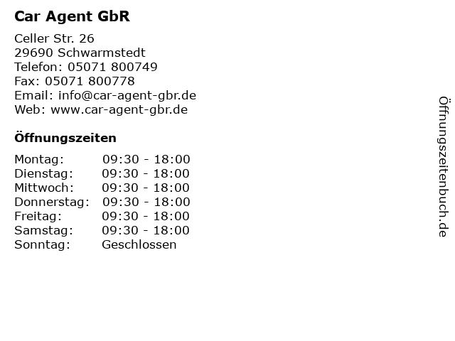 Car Agent GbR in Schwarmstedt: Adresse und Öffnungszeiten