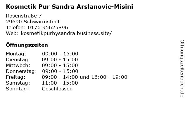 Kosmetik Pur Sandra Arslanovic-Misini in Schwarmstedt: Adresse und Öffnungszeiten