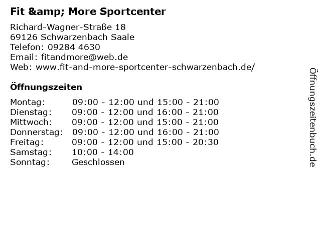 Fit & More Sportcenter in Schwarzenbach Saale: Adresse und Öffnungszeiten