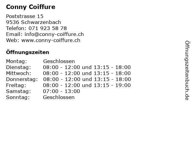 ᐅ Offnungszeiten Conny Coiffure Poststrasse 15 In Schwarzenbach