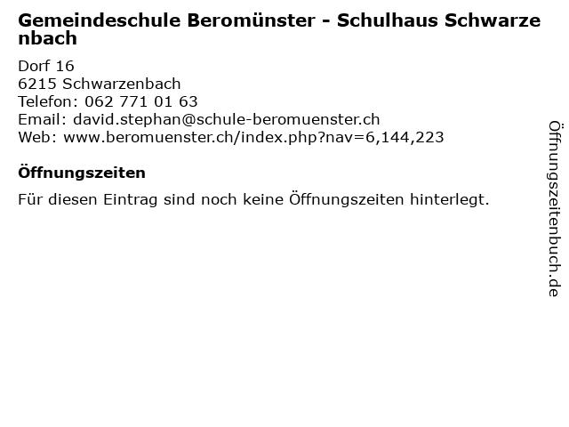 Gemeindeschule Beromünster - Schulhaus Schwarzenbach in Schwarzenbach: Adresse und Öffnungszeiten