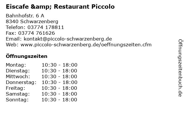 Eiscafe & Restaurant Piccolo in Schwarzenberg: Adresse und Öffnungszeiten