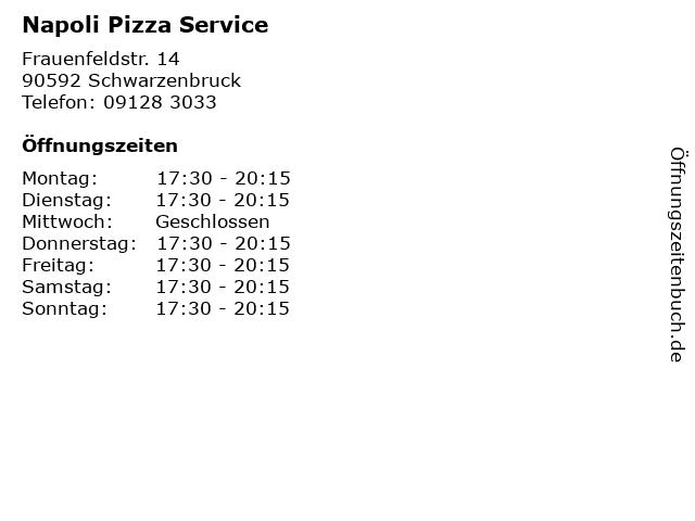 Napoli Pizza Service in Schwarzenbruck: Adresse und Öffnungszeiten
