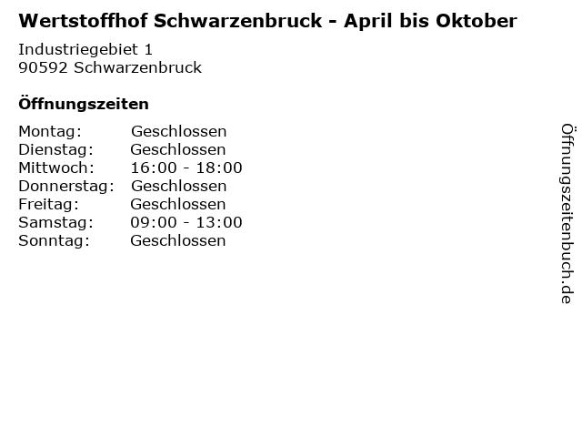 Wertstoffhof Schwarzenbruck - April bis Oktober in Schwarzenbruck: Adresse und Öffnungszeiten