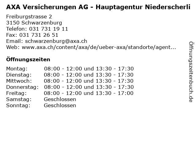 AXA Versicherungen AG - Hauptagentur Niederscherli in Schwarzenburg: Adresse und Öffnungszeiten