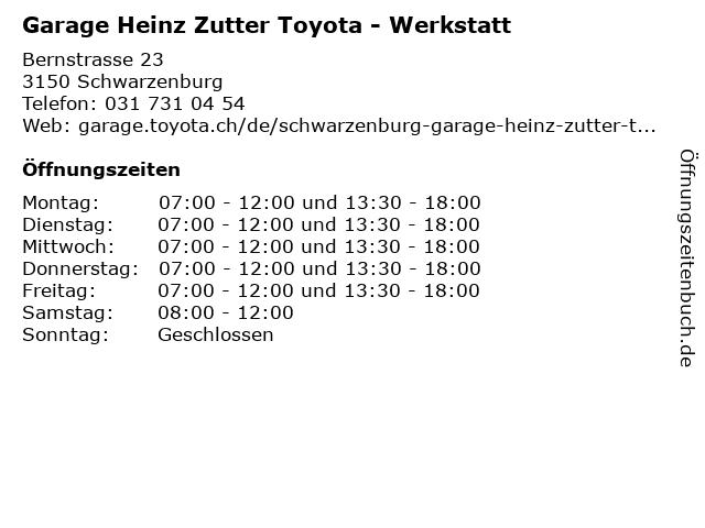 Garage Heinz Zutter Toyota - Werkstatt in Schwarzenburg: Adresse und Öffnungszeiten