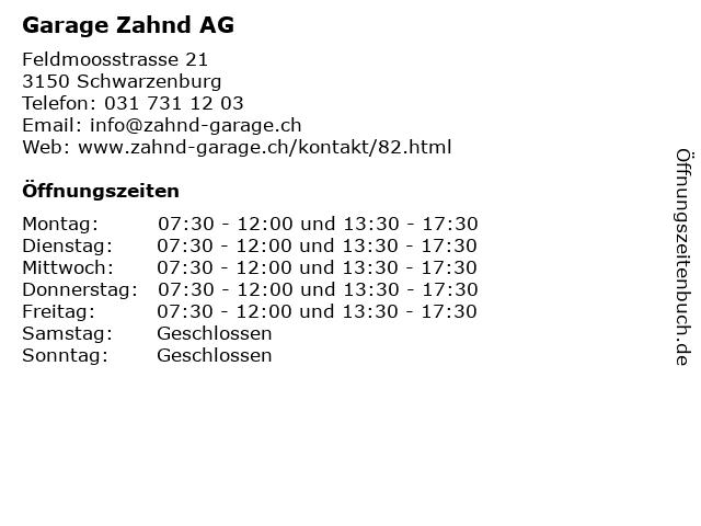 Garage Zahnd AG in Schwarzenburg: Adresse und Öffnungszeiten