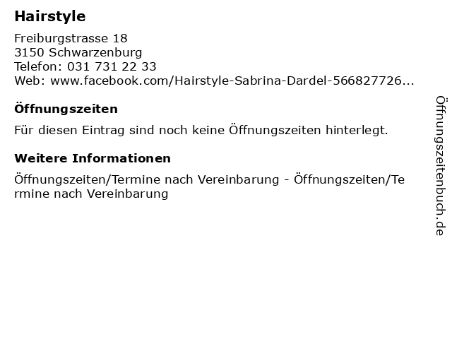 Hairstyle in Schwarzenburg: Adresse und Öffnungszeiten