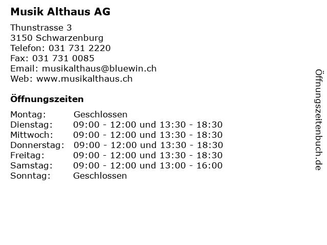 Musik Althaus AG in Schwarzenburg: Adresse und Öffnungszeiten
