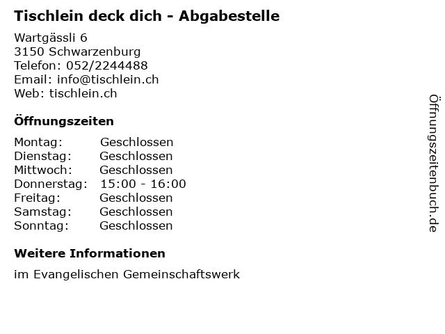 Tischlein deck dich - Abgabestelle in Schwarzenburg: Adresse und Öffnungszeiten