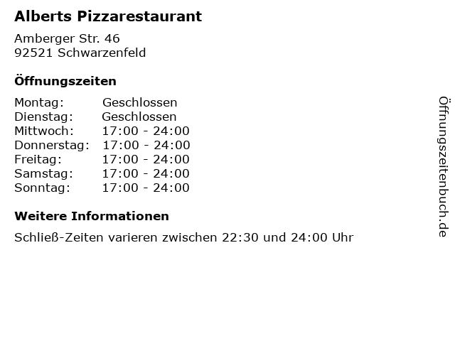 Alberts Pizzarestaurant in Schwarzenfeld: Adresse und Öffnungszeiten