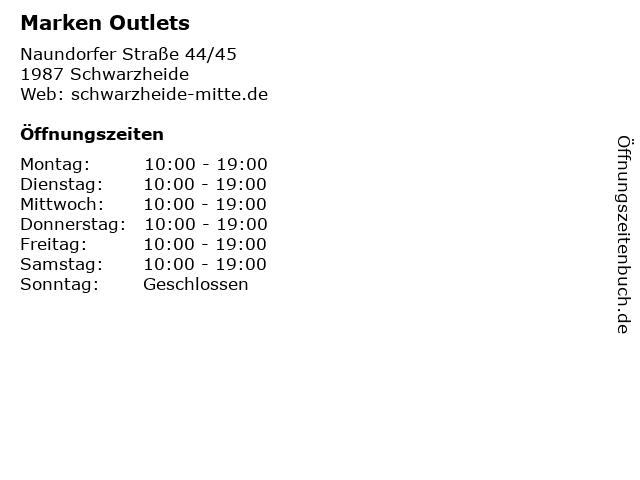 Marken Outlets in Schwarzheide: Adresse und Öffnungszeiten