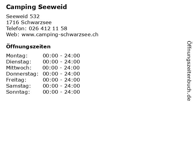 Camping Seeweid in Schwarzsee: Adresse und Öffnungszeiten