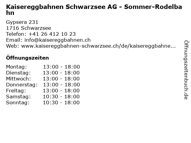 Kaisereggbahnen Schwarzsee AG - Sommer-Rodelbahn in Schwarzsee: Adresse und Öffnungszeiten