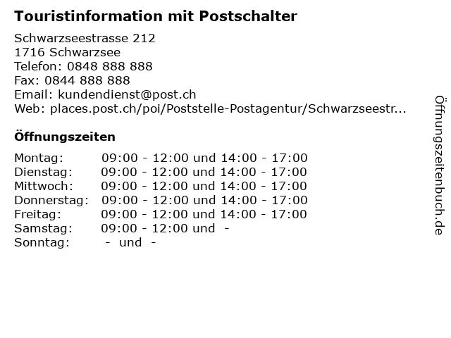 Touristinformation mit Postschalter in Schwarzsee: Adresse und Öffnungszeiten