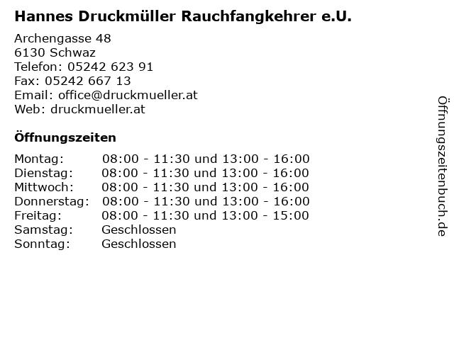Hannes Druckmüller Rauchfangkehrer e.U. in Schwaz: Adresse und Öffnungszeiten