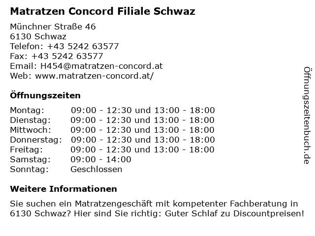 Matratzen Concord GmbH in Schwaz: Adresse und Öffnungszeiten