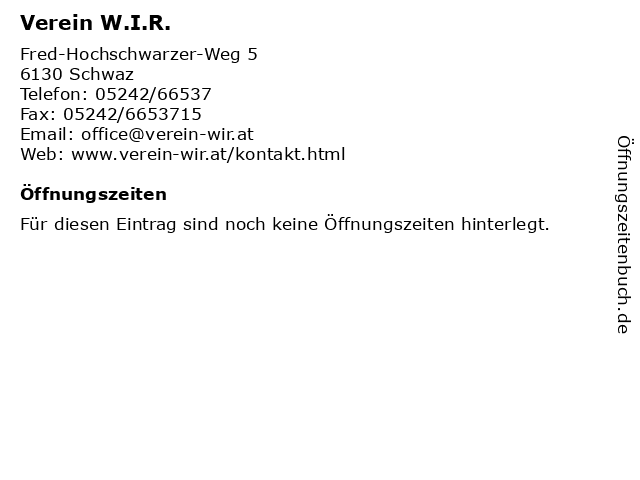 Verein W.I.R. in Schwaz: Adresse und Öffnungszeiten