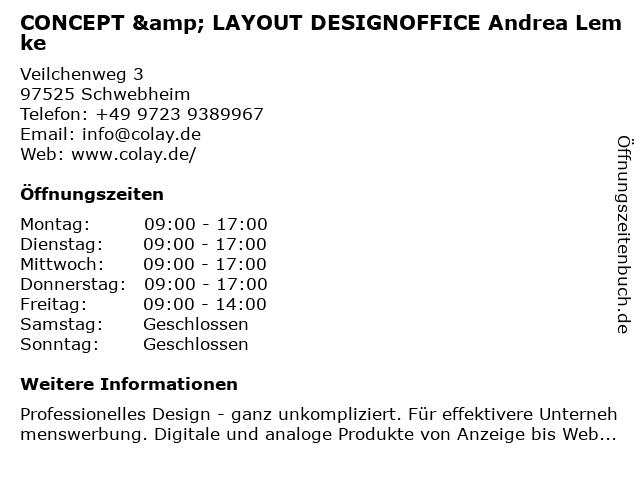 CONCEPT & LAYOUT DESIGNOFFICE Andrea Lemke in Schwebheim: Adresse und Öffnungszeiten