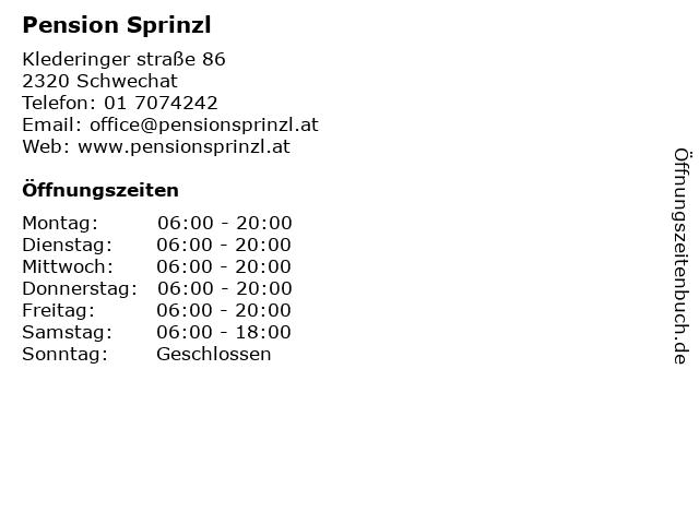 Pension Sprinzl in Schwechat: Adresse und Öffnungszeiten