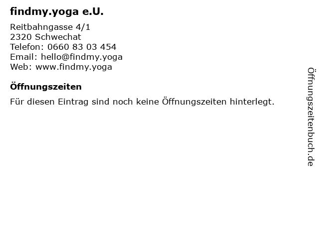 findmy.yoga e.U. in Schwechat: Adresse und Öffnungszeiten