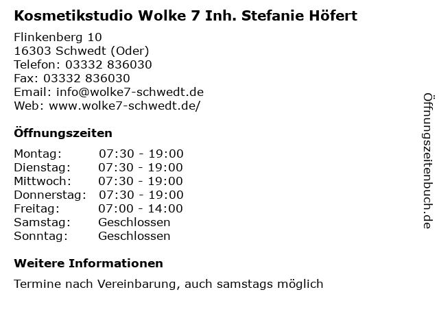 Kosmetikstudio Wolke 7 Inh. Stefanie Höfert in Schwedt (Oder): Adresse und Öffnungszeiten