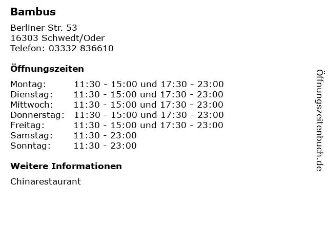 Bambus in Schwedt/Oder: Adresse und Öffnungszeiten
