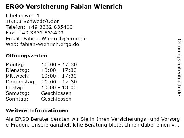 ERGO Versicherung Fabian Wienrich in Schwedt/Oder: Adresse und Öffnungszeiten