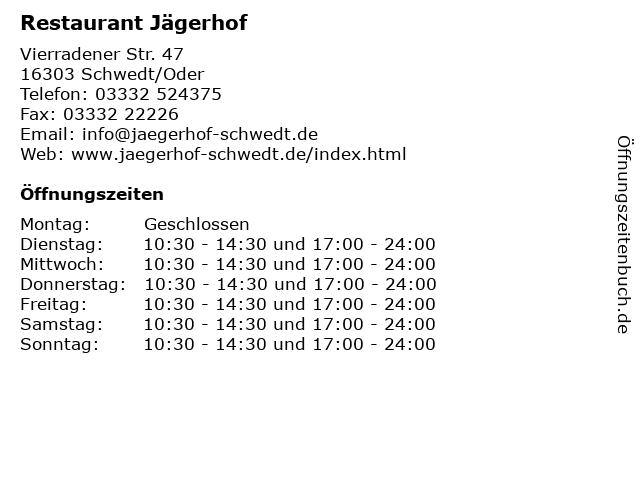 Restaurant Jägerhof in Schwedt/Oder: Adresse und Öffnungszeiten