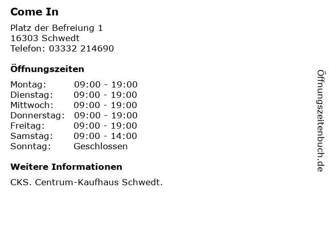 Come In in Schwedt: Adresse und Öffnungszeiten