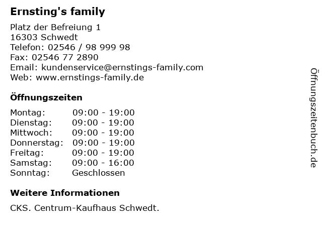 Ernsting's family GmbH & Co. KG in Schwedt: Adresse und Öffnungszeiten