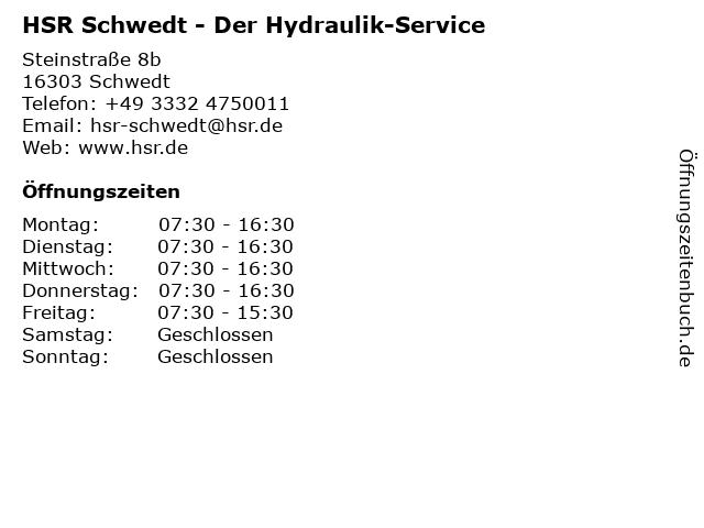 HSR Der Hydraulik-Service in Schwedt: Adresse und Öffnungszeiten