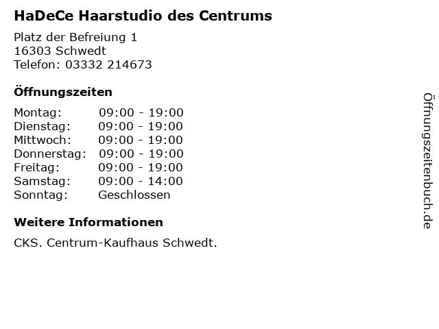 HaDeCe Haarstudio des Centrums in Schwedt: Adresse und Öffnungszeiten
