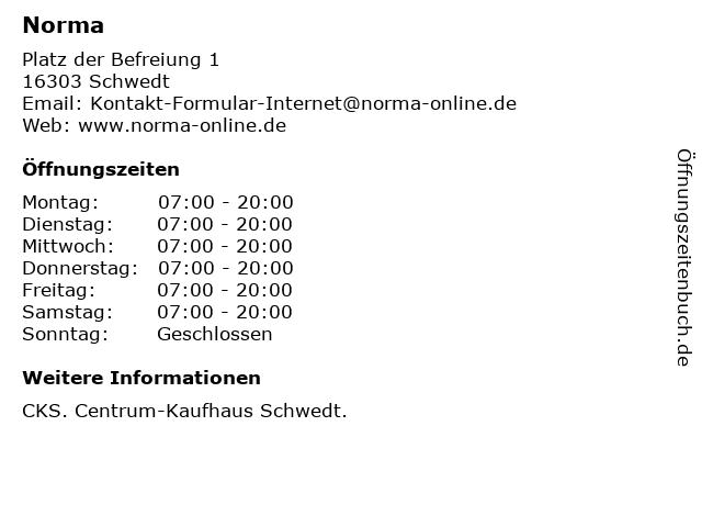 Norma Lebensmittelfilialbetrieb Stiftung & Co. KG in Schwedt: Adresse und Öffnungszeiten