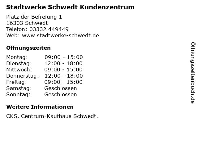 Stadtwerke Schwedt Kundenzentrum in Schwedt: Adresse und Öffnungszeiten