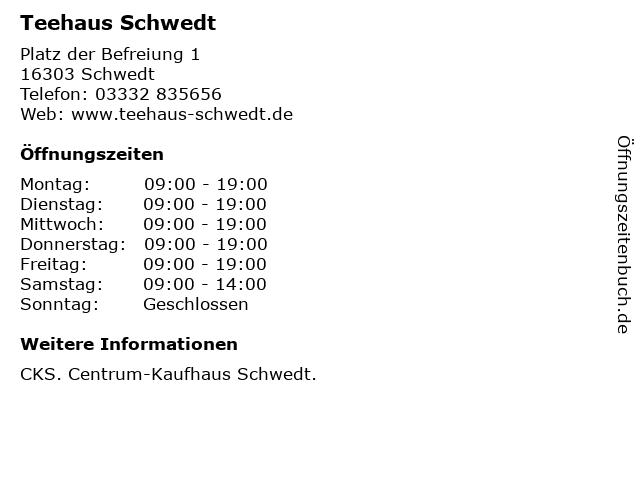 Teehaus Schwedt in Schwedt: Adresse und Öffnungszeiten