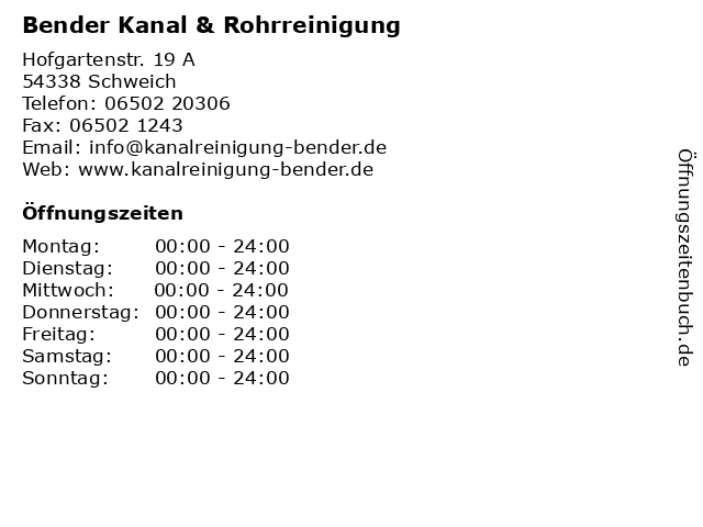 Bender Kanal & Rohrreinigung in Schweich: Adresse und Öffnungszeiten
