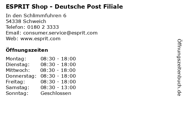 ESPRIT Shop - Deutsche Post Filiale in Schweich: Adresse und Öffnungszeiten