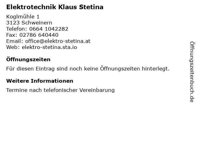 Elektrotechnik Klaus Stetina in Schweinern: Adresse und Öffnungszeiten