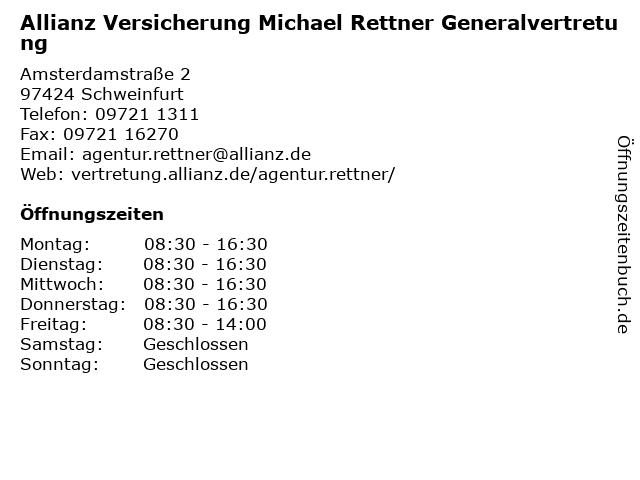 Allianz Versicherung Michael Rettner Generalvertretung in Schweinfurt in Schweinfurt: Adresse und Öffnungszeiten
