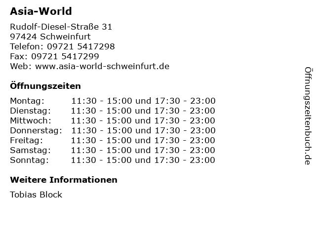Asia-World in Schweinfurt: Adresse und Öffnungszeiten