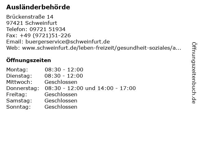 Ausländerbehörde in Schweinfurt: Adresse und Öffnungszeiten