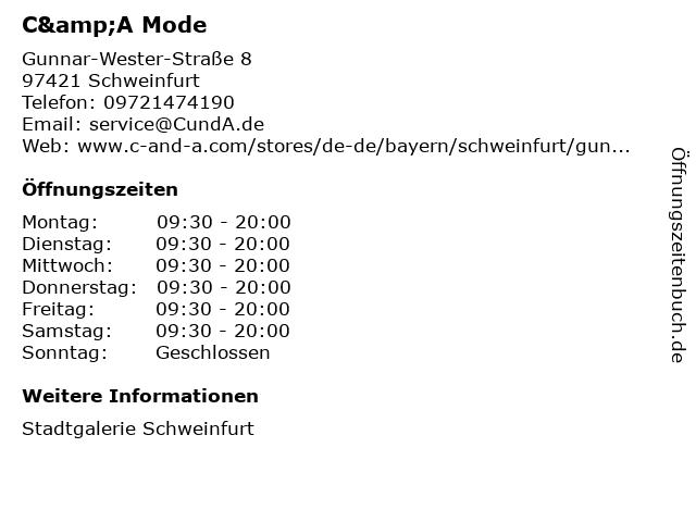 C&A Mode GmbH & Co. KG in Schweinfurt: Adresse und Öffnungszeiten