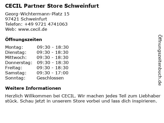 CECIL Partner Store Schweinfurt in Schweinfurt: Adresse und Öffnungszeiten