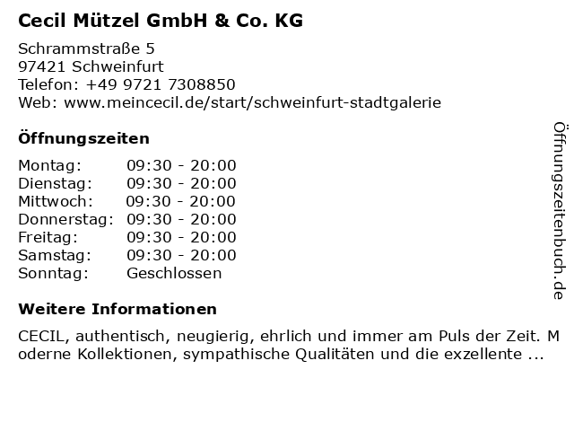 Cecil Mützel GmbH & Co. KG in Schweinfurt: Adresse und Öffnungszeiten