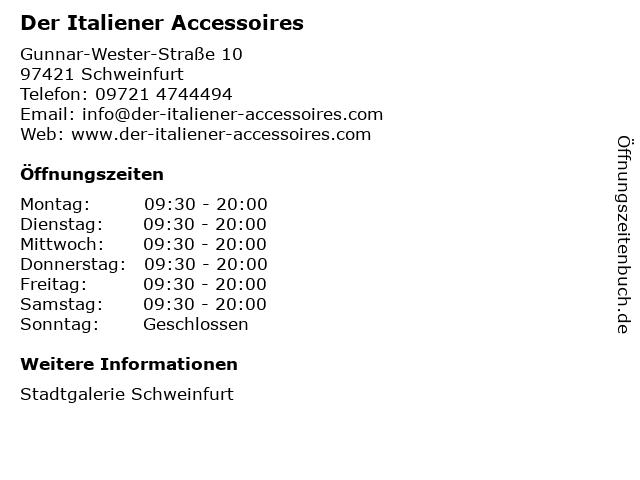 Der Italiener Accessoires in Schweinfurt: Adresse und Öffnungszeiten