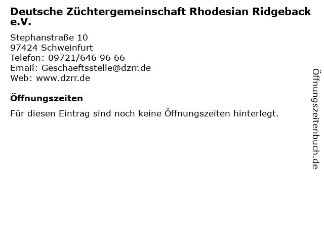 Deutsche Züchtergemeinschaft Rhodesian Ridgeback e.V. in Schweinfurt: Adresse und Öffnungszeiten